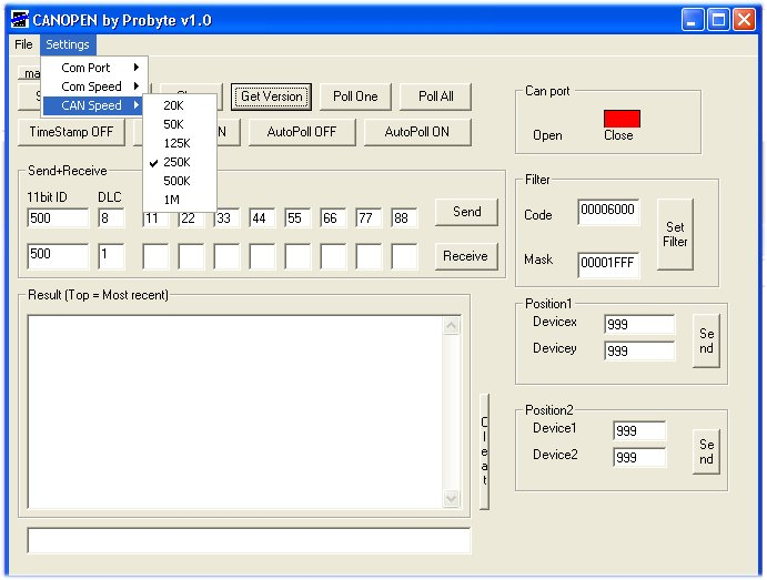 CANOPEN 1.1 software